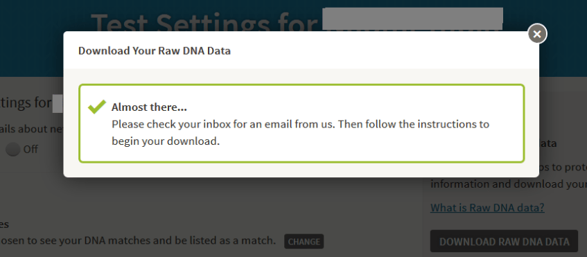 Waiting for an email from Ancestry to download DNA results