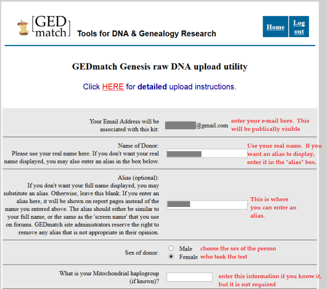 how to upload my DNA to gedmatch genesis under an alias