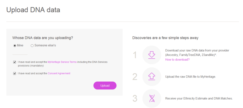 how to upload my own data to my heritage dna