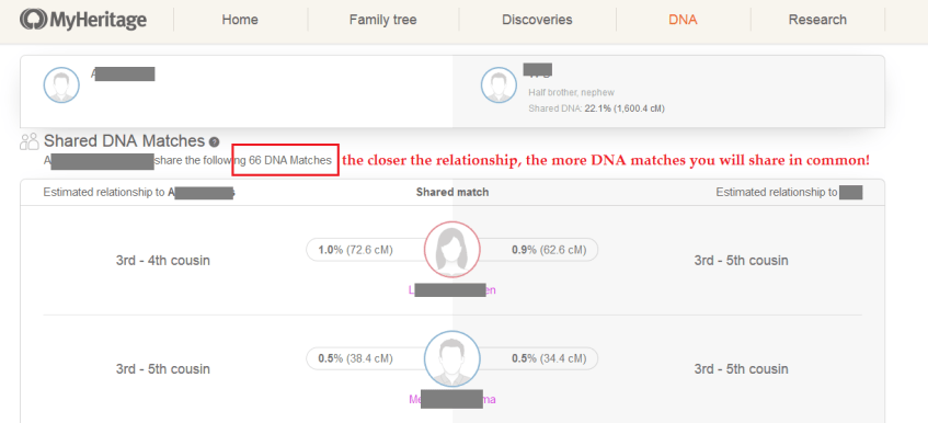 shared matches on my heritage dna