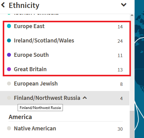 What do those numbers mean next to the ethnicity region on ancestry dna