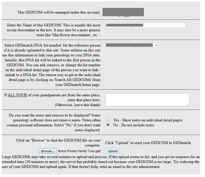 how can i get my family tree information onto gedmatch