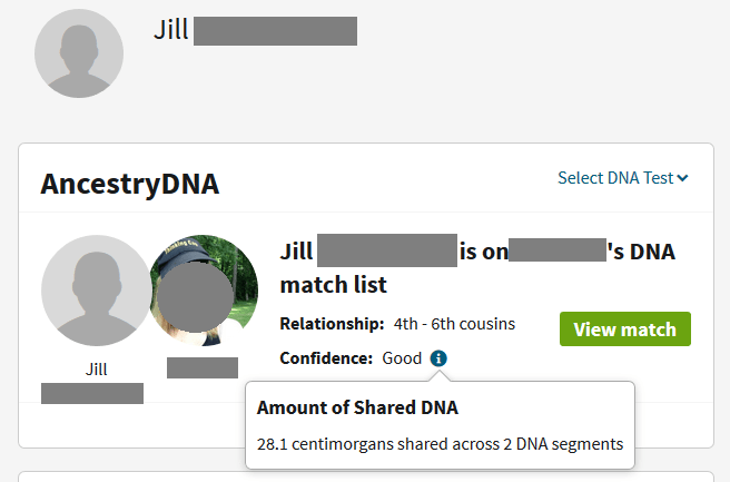 Example of how a full sibling shares less DNA with a match