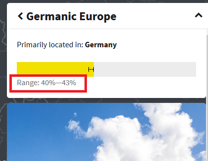 how to see the range of percentages for a region on ethnicty estimate