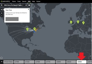 Where to click on your Ancestry DNA Story to access your DNA Timeline over a certain period