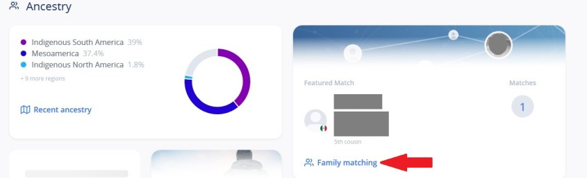 How to access Family Matching from the main Living DNA dashboard
