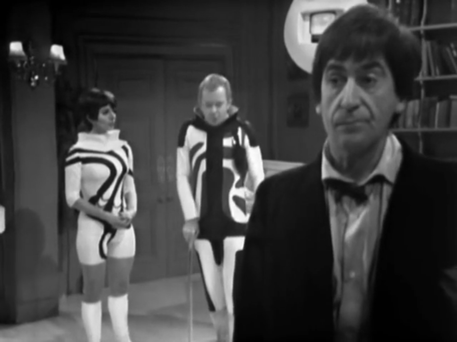Patrick Troughton as the Second Doctor with Wendy Gifford as Miss Garrett and Peter Barkworth as Clent in The Ice Warriors