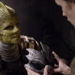Matt Sith with a Silurian in The Hungry Earth
