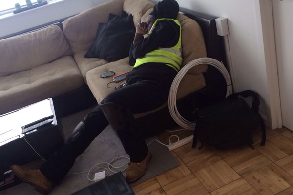 """So the Time Warner technician just fell asleep on my couch"""