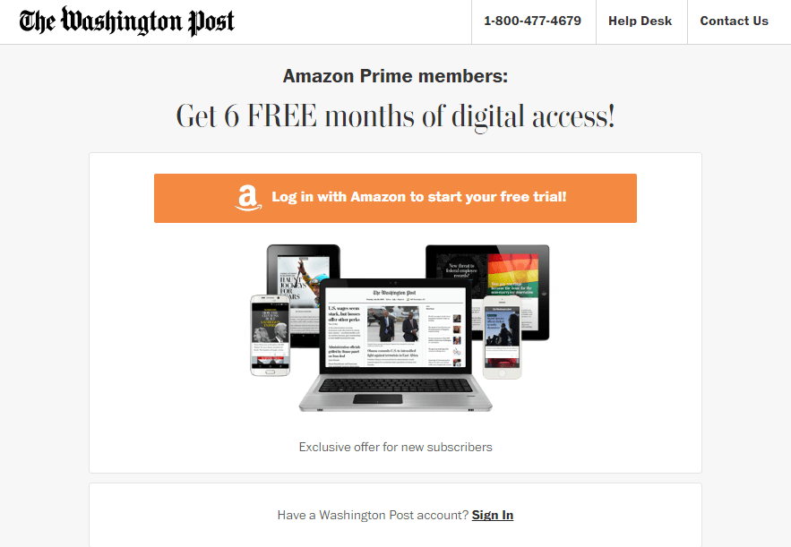 Have Amazon Prime? Get 6 months of the Washington Post for Free.