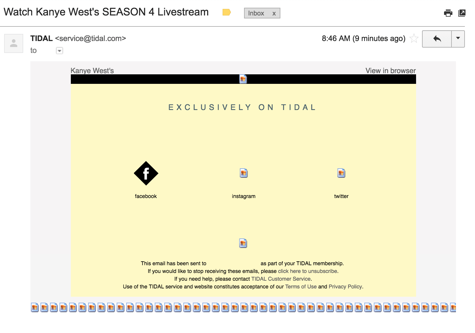 I don't think Tidal is very good at sending emails.