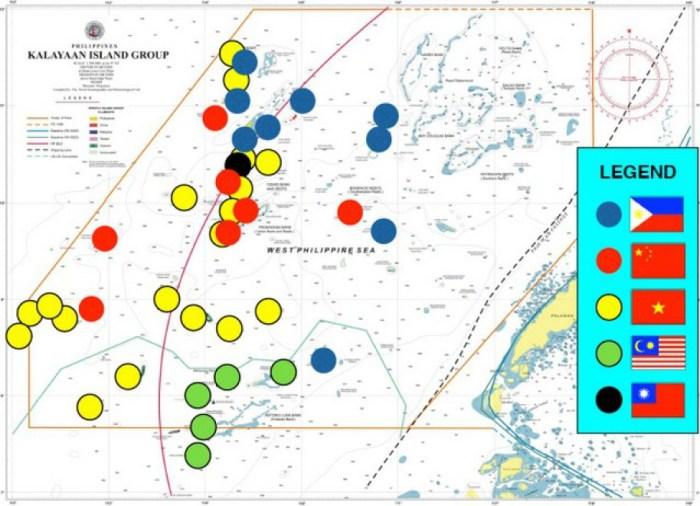 南沙群島中島礁的實際控制國圖示