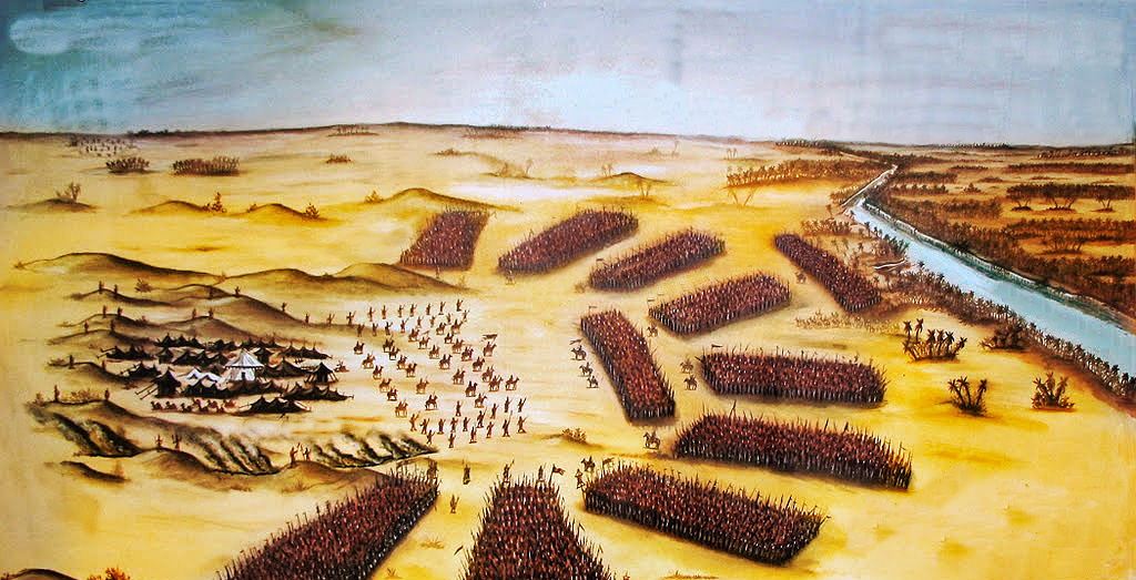 Illustration of the battle map where Hussain and his camp had been encircled by an army of 30,000.