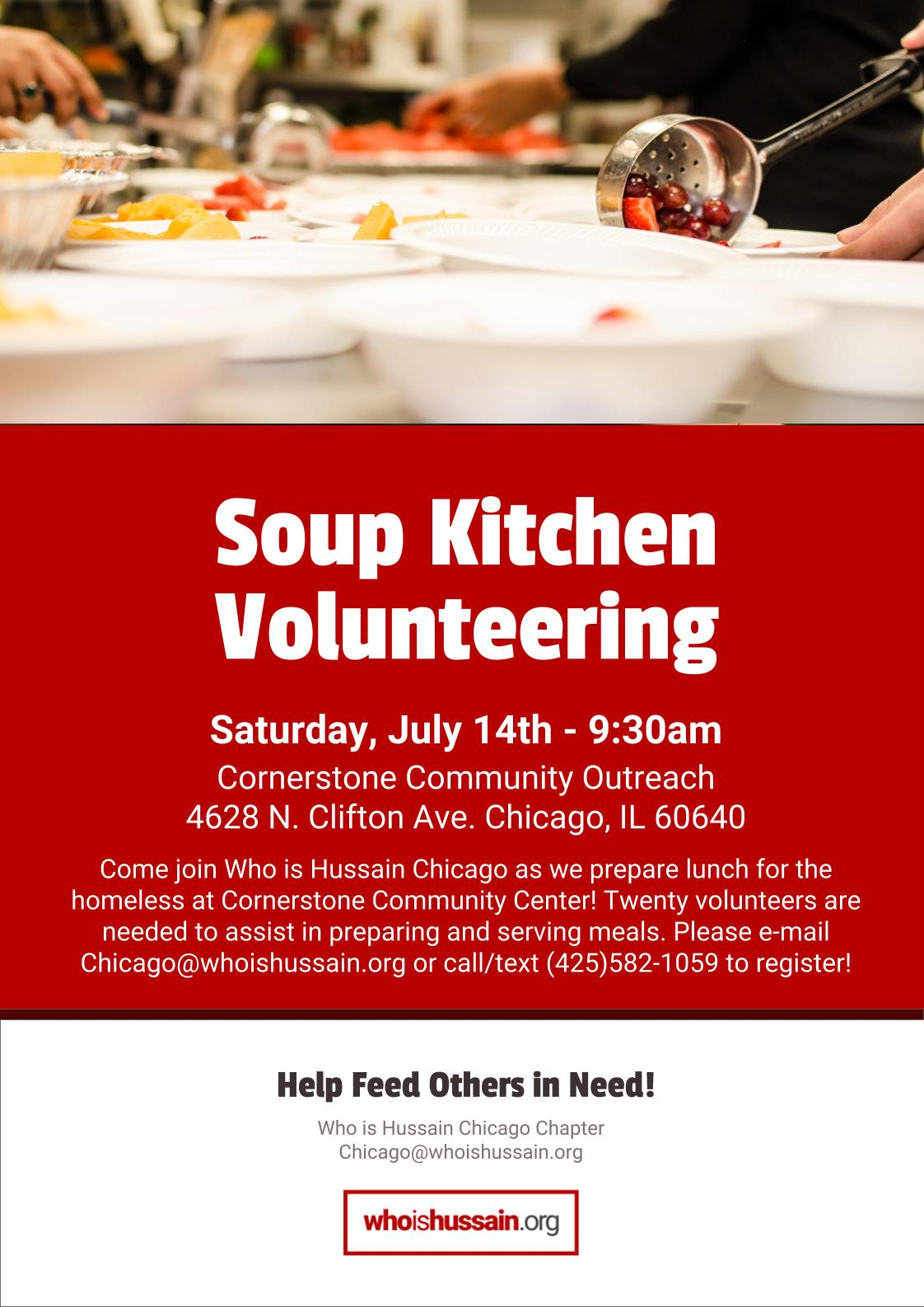 The Who Is Hussain Chicago Chapter Will Be Sending Twenty Volunteers To  Cornerstone Community Outreach To Assist In Preparing And Serving Food To  The Local ...