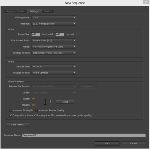 Custom Sequence Settings