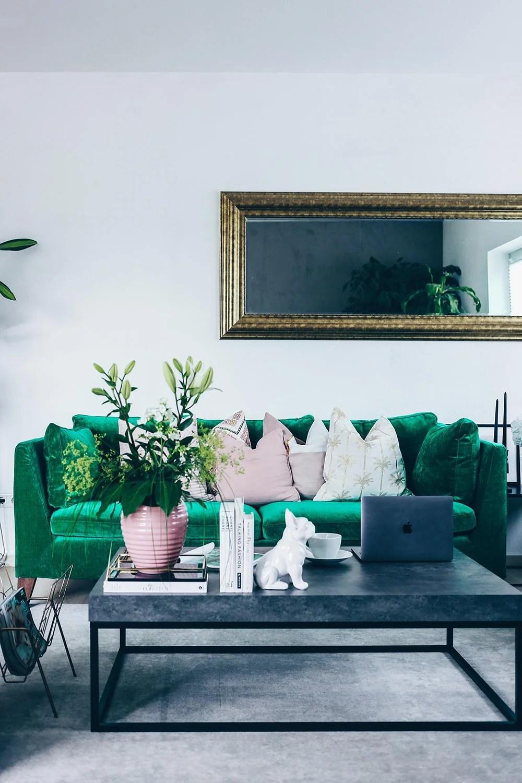 Unsere neue WohnzimmerEinrichtung in Grn Grau und Rosa