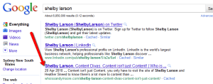 Shelby Larson Page 1 Google ranking