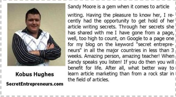 Testimonial from Kobus Hughes for Sandy Moore
