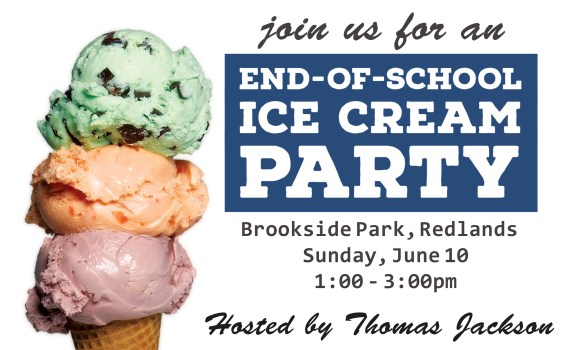 Free ice cream social at Brookside Park, Redlands, CA - hosted by Thomas Jackson