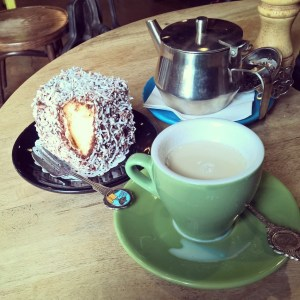 Chai tea and lamington at The Locale