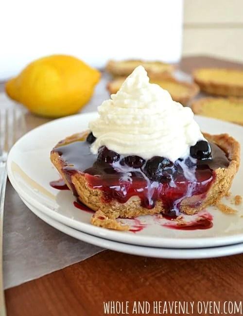 Lemon Tarts With Fresh Blueberry Sauce | wholeandheavenlyoven.com