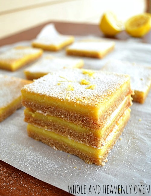 Old-Fashioned Lemon Bars   wholeandheavenlyoven.com