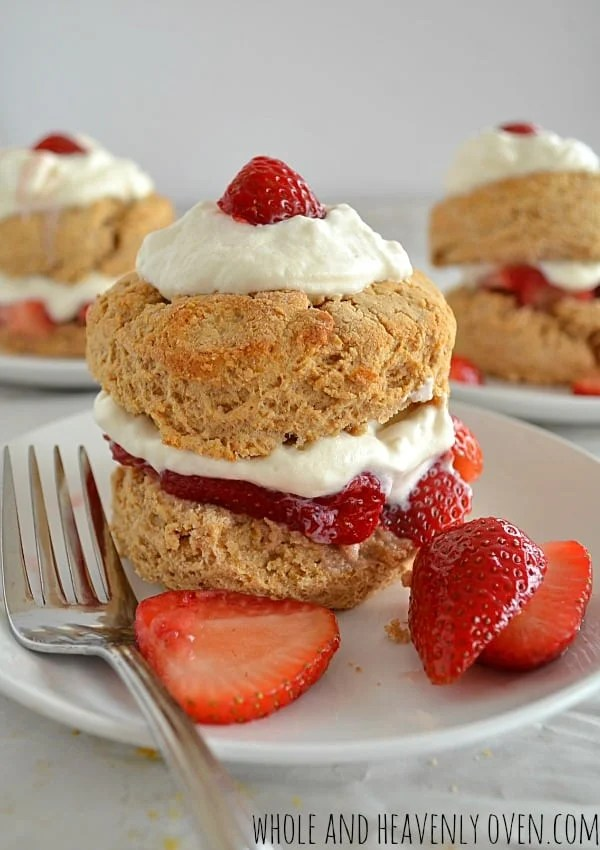Whole Wheat Strawberry Shortcakes | wholeandheavenlyoven.com
