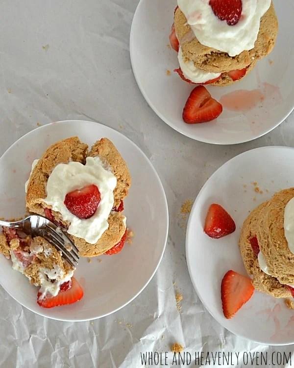 Whole Wheat Strawberry Shortcakes   wholeandheavenlyoven.com