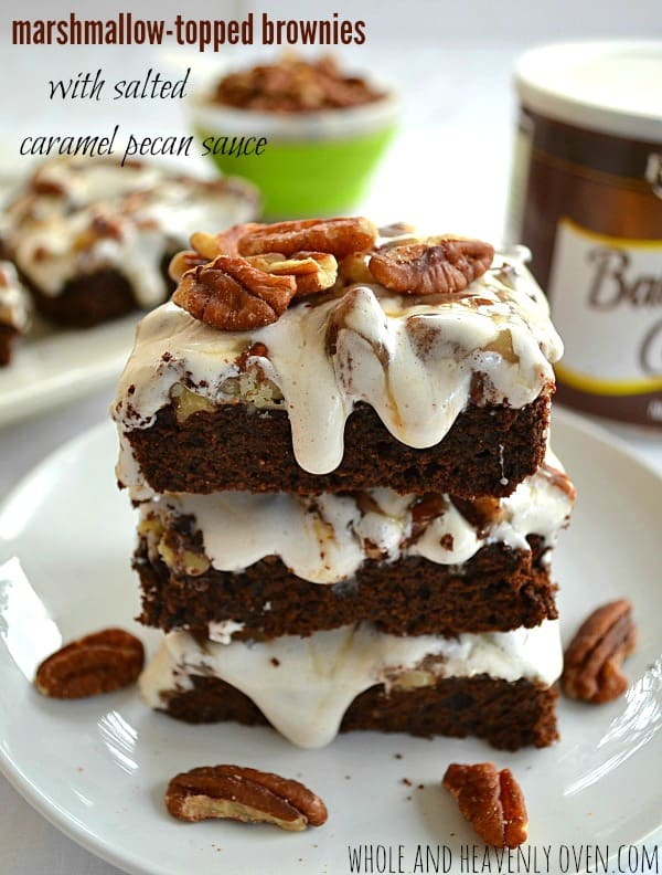Marshmallow-Topped Brownies With Salted Caramel Pecan Sauce | wholeandheavenlyoven.com