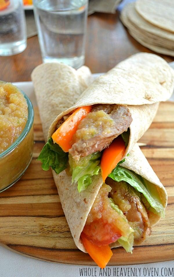 Chicken Veggie Wraps with Mango Sauce | wholeandheavenlyoven.com