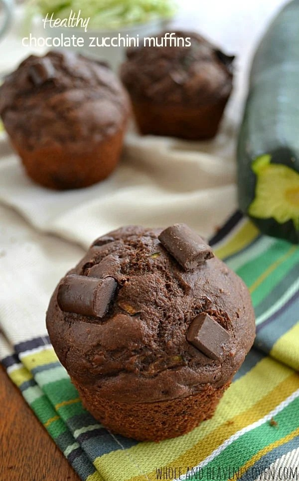 Healthy Chocolate Zucchini Muffins | wholeandheavenlyoven.com