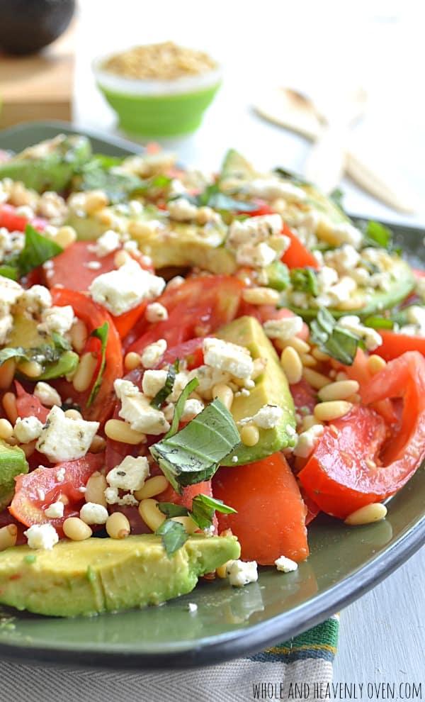Avocado Tomato Salad with Pine Nuts + Feta | wholeandheavenlyoven.com