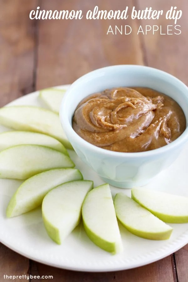 A sweet autumn recipe - cinnamon almond butter dip with apples.