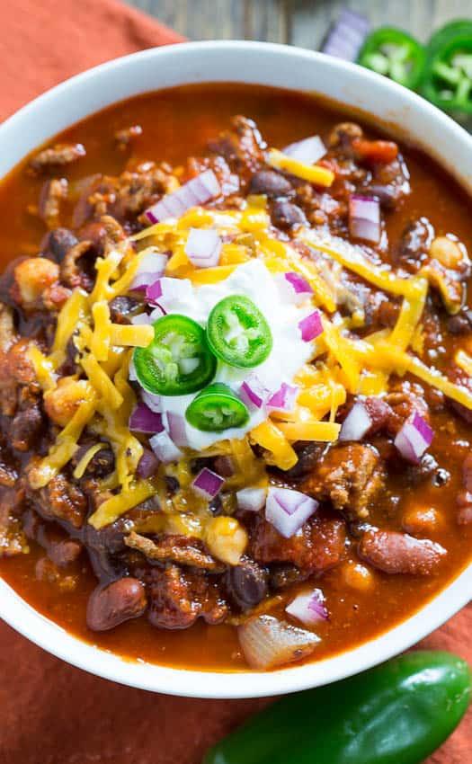 Three-Bean Chili | wholeandheavenlyoven.com