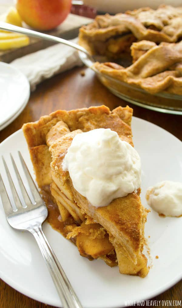 This cozy apple pie is so classic and simple, yet it tastes almost exactly like bakery-style apple pie. Heaven!  @WholeHeavenly