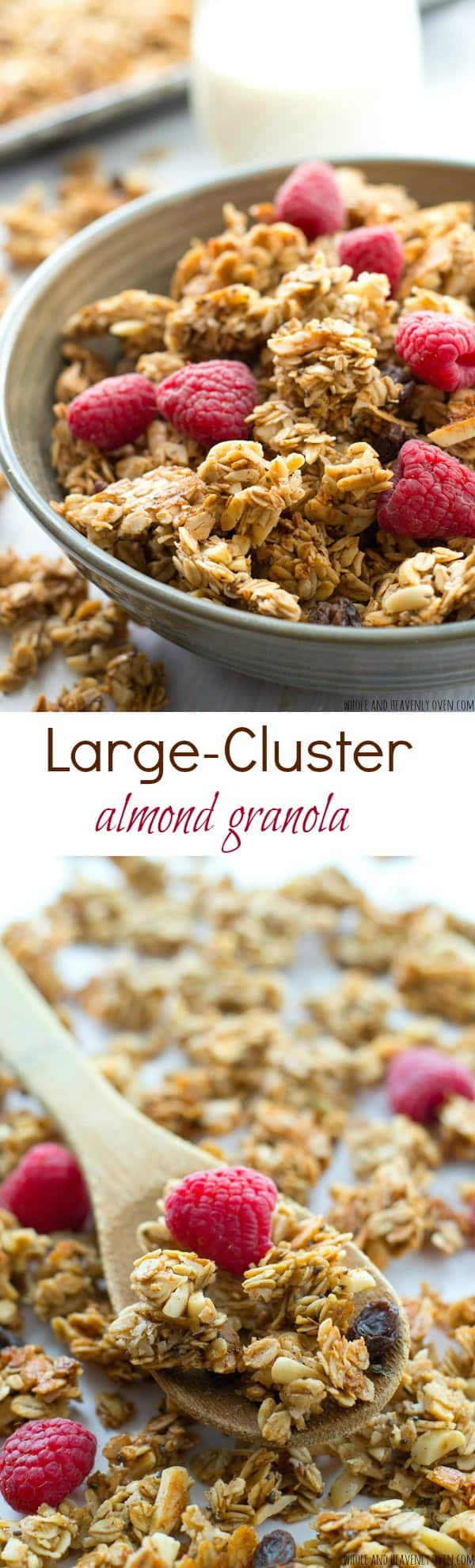 Learn all the secrets to making perfect large-cluster granola with this easy recipe! Perfectly huge and crunchy granola clusters with lots of almond flavor. @WholeHeavenly