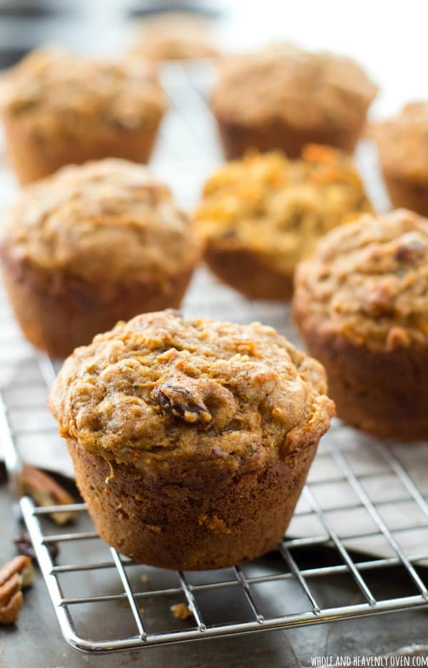 Super-soft inside and loaded with all kinds of healthy goodness, these classic morning glory muffins are the best way to wake up! @WholeHeavenly