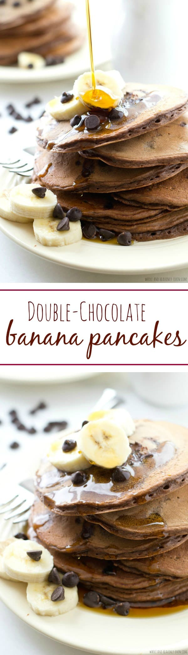 """These thick, fluffy pancakes are loaded with lots of banana flavor and a double-delight of chocolate---Your family will go """"bananas"""" for these crowd-pleasing pancakes! @WholeHeavenly"""