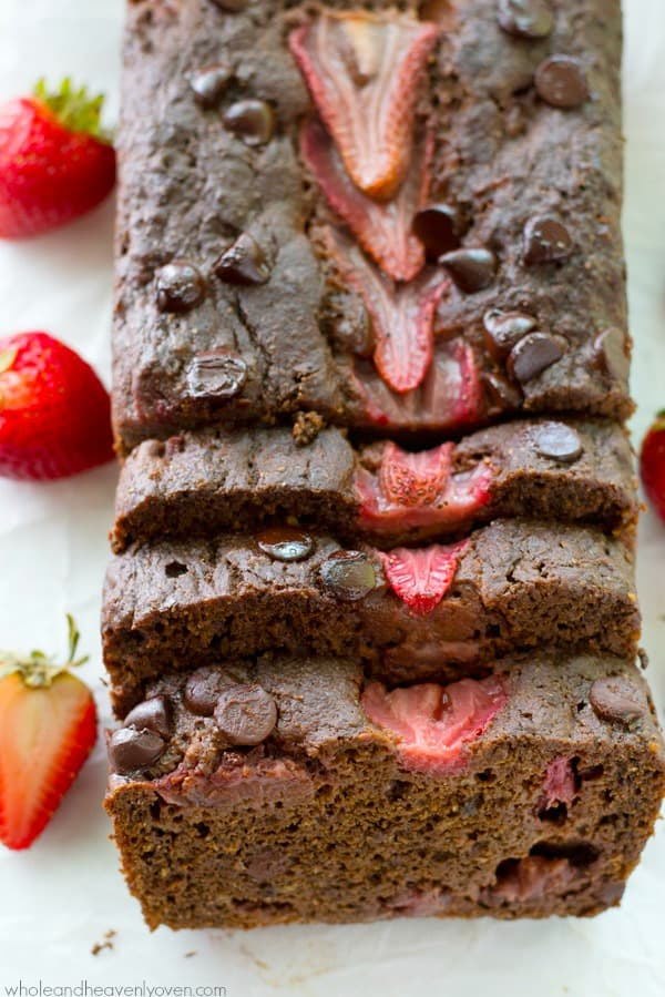 A double-threat of chocolate and juicy strawberries come together in this unbelievably-moist banana bread that the whole family will love.---You can't help but go back for another slice!