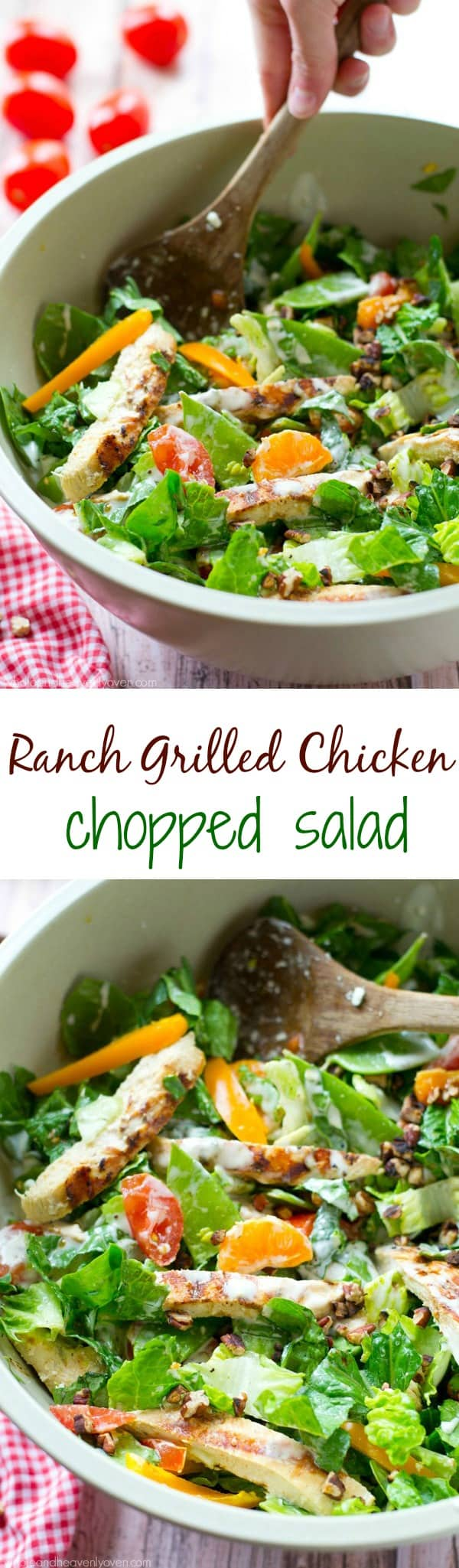 Grilled ranch-marinated chicken, a rainbow of fresh veggies and lots of ranch dressing collide in this simple, flavor-loaded chopped salad. ---soon to be your new favorite summer salad! @WholeHeavenly
