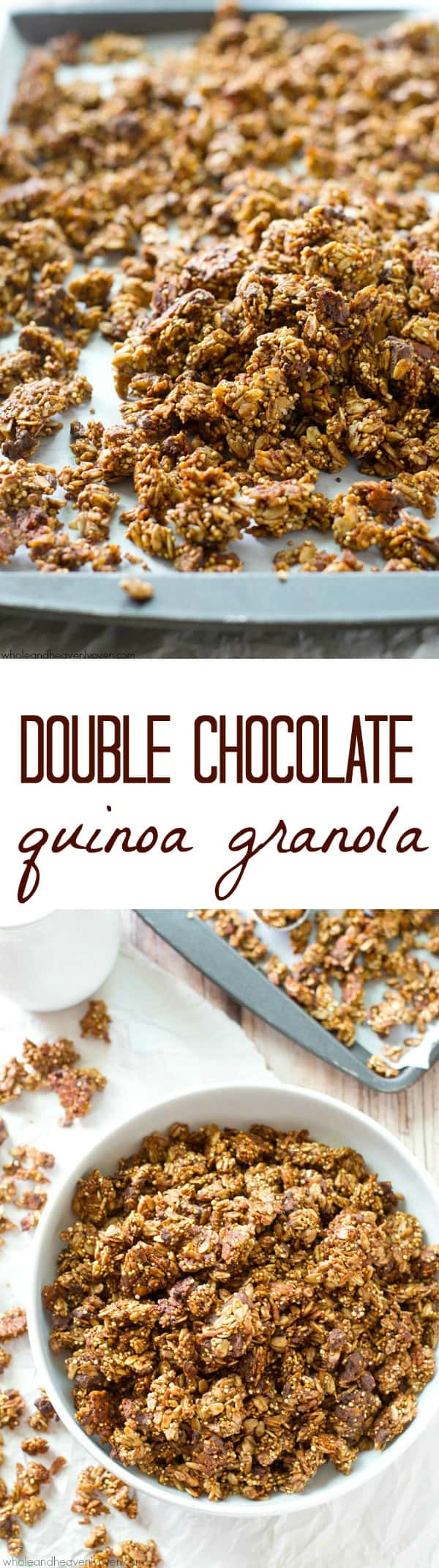 This big, cluster-y granola is loaded with a double-threat of chocolate and perfectly crisp and crunchy thanks to the healthy addition of quinoa.---You'll want to eat this addicting granola by the handful!