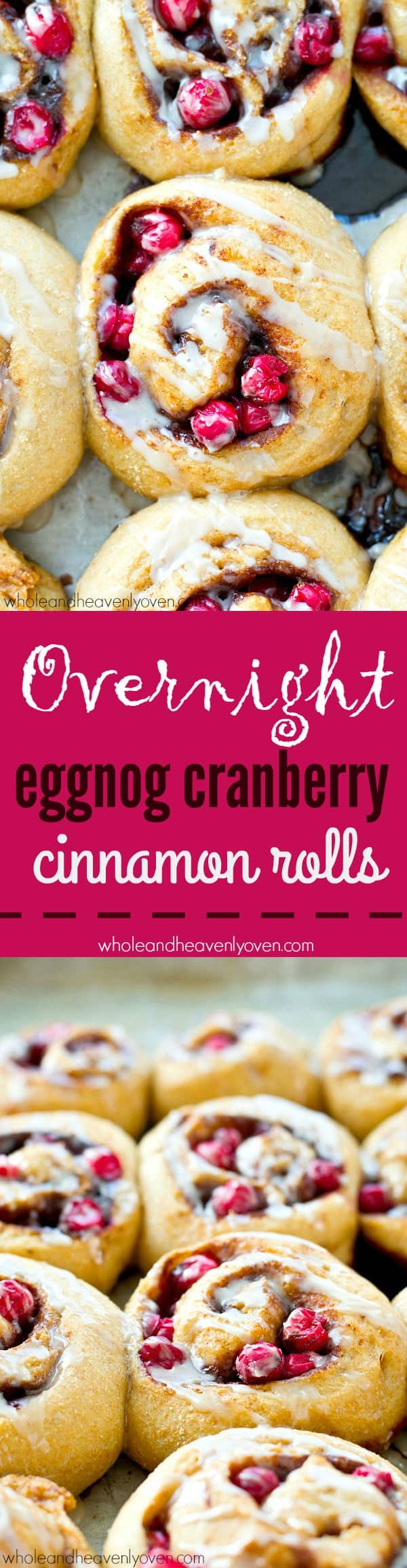 Let your fridge make your holiday breakfast for you! Eggnog makes these eggnog cranberry cinnamon rolls so ridiculously soft inside, you may very well eat the entire batch!