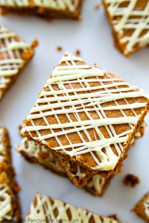 These super-soft and chewy gingerbread cookie bars are drizzled with plenty of white chocolate and absolutely melt in your mouth!