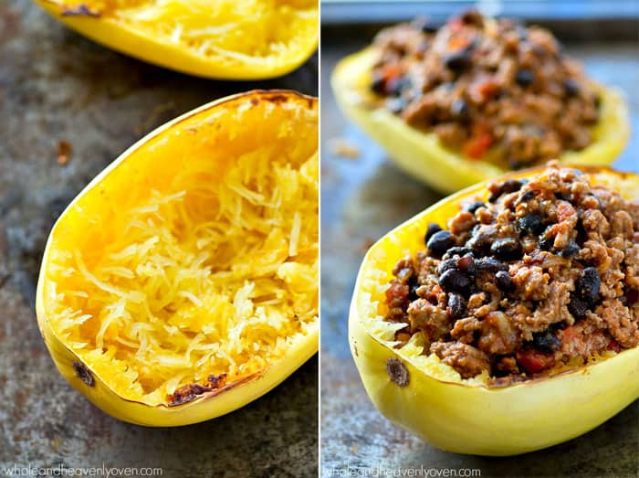 Spaghetti squash boats loaded to the max with lighter turkey chili and plenty of gooey cheese on top!---An easy and healthier way to enjoy Cincinnati-style chili.