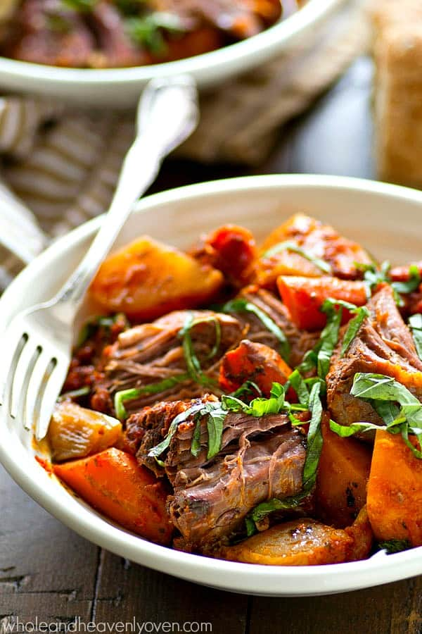 You'll never make your pot roast ANY other way again after trying it Italian-style with lots of tender root veggies! The ultimate healthy comfort food.