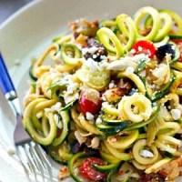 Sun-Dried Tomato Mediterranean Zucchini Noodles Salad