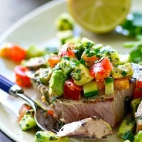 Cilantro-Lime Grilled Tuna with Avocado Cucumber Salsa