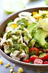 Tons of bountiful summer goodness and an insane homemade basil green goddess dressing transform classic cobb salad into a summertime dream! Load up this gorgeous salad with all your favorites.