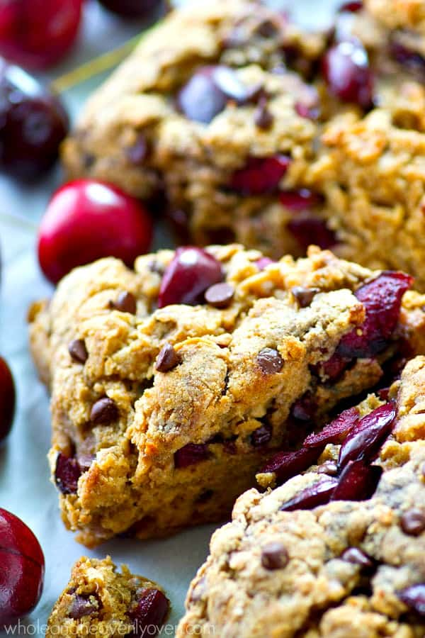 These cherry-loaded chocolate chip scones are SO flaky and tender you would never guess they use coconut oil instead of butter!---Summer baking at it's finest!