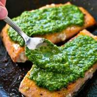 Pan-Seared Salmon with Spinach Basil Pesto Sauce